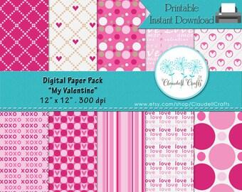 "My Valentine Digital Paper Pack (10) - 12""x12"" 300 DPI"