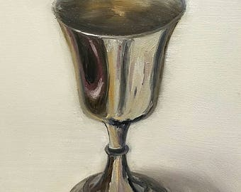 ORIGINAL OIL PAINTING Silver Goblet 6x8 Linda Merchant Daily Painting Alla Prima Fine Art Miniature Still Life Small Painting