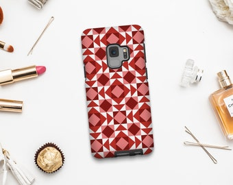 Red geometric phone cases, Sexy phone case for iPhone 8 Plus, iPhone SE, Samsung S9, Samsung A7 2017, Google pixel, Pixel 2 XL case. SP041C4