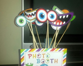 Little Monster Birthday Party Photo props and photo booth sign - Instant Download