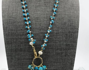 Turquoise with Pearl Cluster with Rosary Chain, 2.5-3mm 24kt Gold Plated Wire Wrapped Rosary Chain with Baroque Pearl Pendant and Blue Agate
