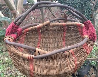 Flower Girl Basket, Hanging Storage Basket, Woodland Wedding Hand Woven Twig Basket.