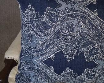 Indigo Blue Textured Pillow Cover