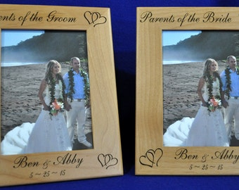Wedding Gift For Parents ~ Parents Of The Bride Gift ~ Parents Of The Groom Gift ~ Custom Wedding Frame ~ Picture Frames ~ Set Of Two 8x10