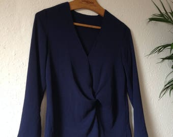 SALE 20% OFF Navy Crepe Fabric Twisted Ruched Pleated Long V-Neck Sleeve Top Blouse