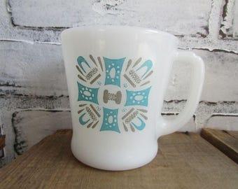 Blue Heaven Vintage MIlk Glass Fire King Mug Coffee or Tea Mug