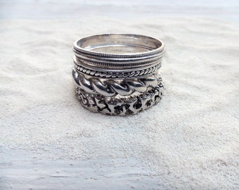 Stacking Rings Set Silver Band Boho Ring Set Jewelry Stackable