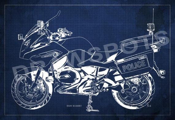 Bmw rt1200 police blueprint art print 14x963 in to 60x41 in malvernweather Choice Image