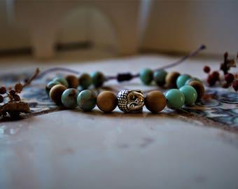 Buddha Bracelet-gemstone-Sea Jade and smelly wood