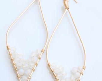 Moonstone Leaf-shaped Earrings