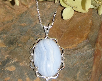 Blue Lace Agate and Sterling Silver Pendant