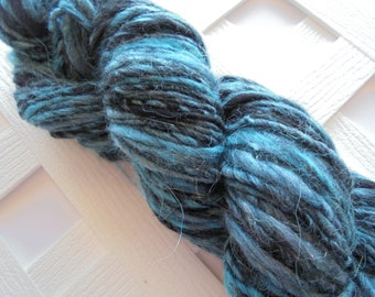 STORMY WEATHER Bulky Handspun Yarn, Soft Handspun Yarn, Bulky Knit Yarn, Bulky Merino Yarn, Weaving Yarn, Thick & Thin Yarn, Silk, Alpaca