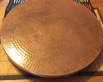 """Hammered Copper Lazy Susan rotating serving tray (16"""" diameter)"""