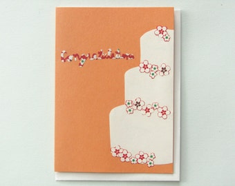 Origami wedding cake - papercut collage card