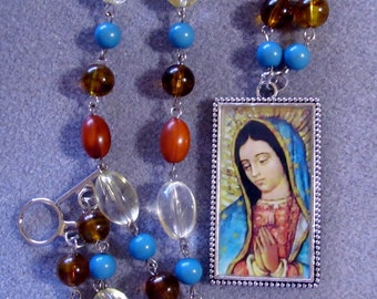 Our Lady of Guadalupe Handmade Catholic Resin Portrait Beaded Necklace OOAK