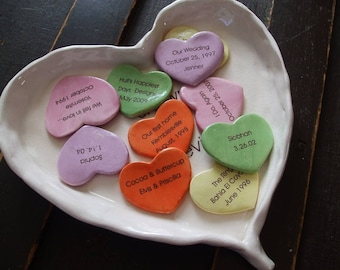 Holiday Gift, Valentine Story of Us Personalized Gift anniversary gift Pottery Porcelain Personalized Hearts Wedding GIft ninth anniversary