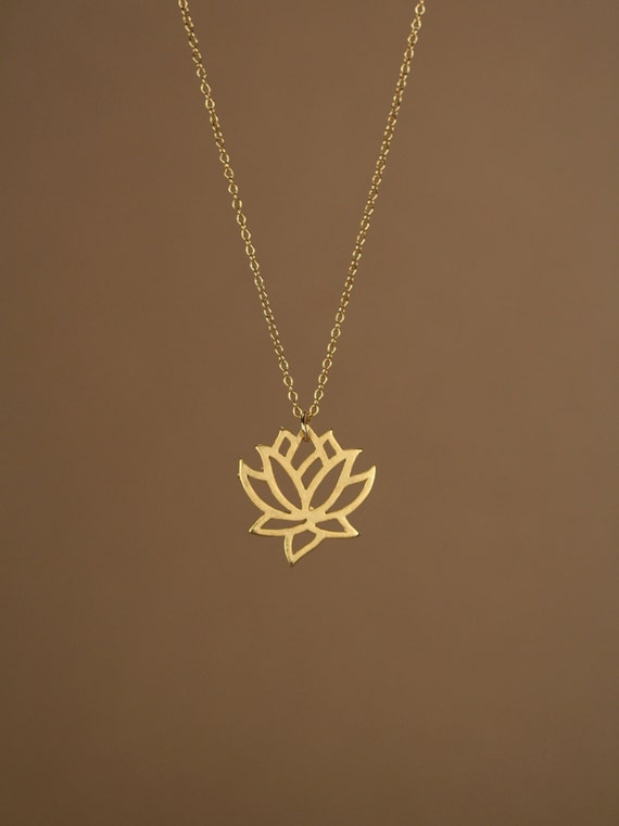 Lotus necklace gold lotus flower yoga necklace blooming like this item audiocablefo
