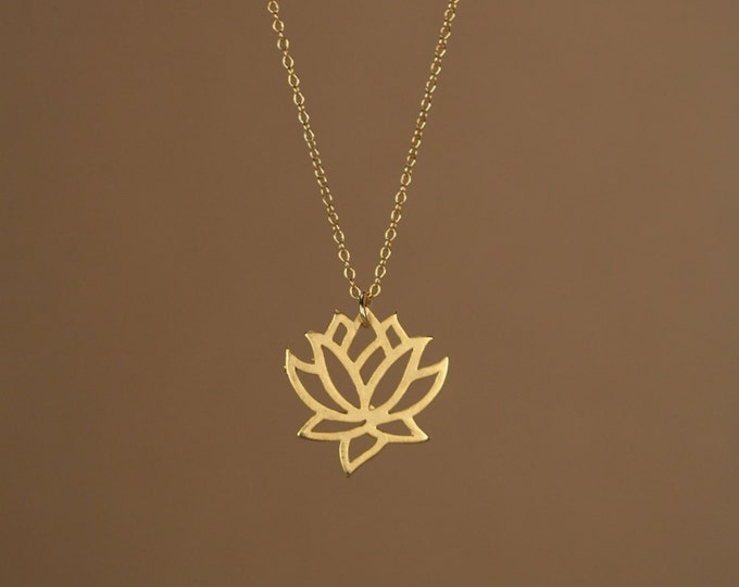 Featured listing image: Lotus necklace - gold lotus flower - yoga necklace - blooming flower - a little 22k gold lotus flower on a 14k gold vermeil chain