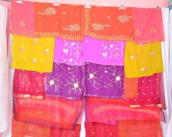 Bohemian Gypsy Curtains .Indian curtain .Boho curtain.scarves curtain.saree curtains.ooak curtain C11