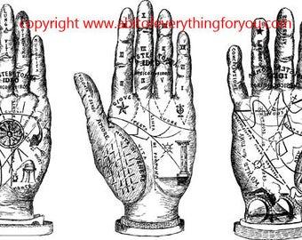 palm reading hands printable fortune teller art clipart png download digital vintage image graphics digital stamp line art celestial artwork