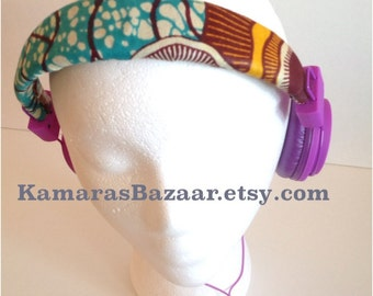 Ankara Headphones // Purple Teal Love SALE