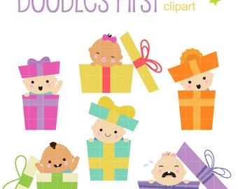 Precious Gift Babies Digital Clip Art for Scrapbooking Card Making Cupcake Toppers Paper Crafts