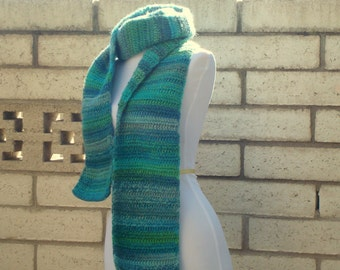 SCARF - Mosaic: Wool Blend Multicolor Scarf for Men or Women in shades of Green and Blue - Crochet Scarf - Warm, Winter Scarf