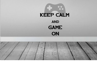 Keep Calm and Game On, Gamers Wall Vinyl, Removable Wall Quote, Video Game Decal, Many Color Choices