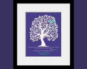 Thank You Gifts, Roots and Wings Quote, Hodding Carter Jr, Parent's Gift, Bride's Parent Gift, Groom's Parent Gift, Wedding Tree Print