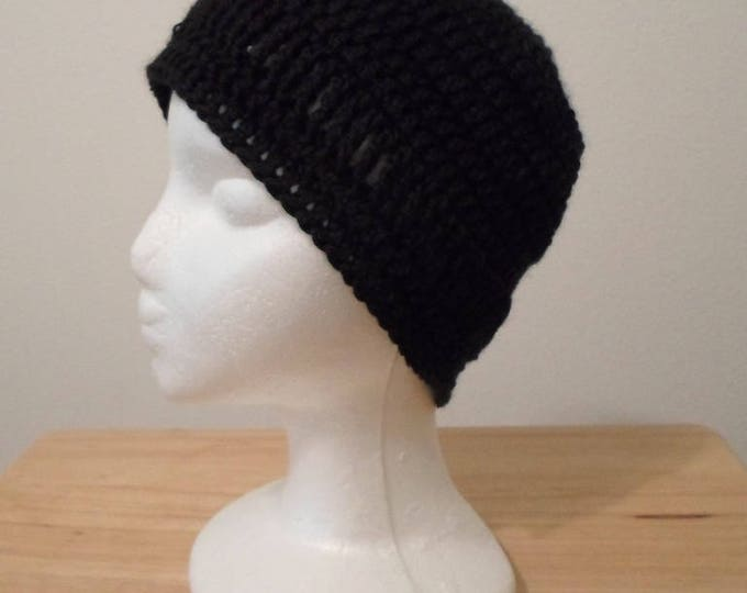 Crochet Cap Size 21 inches - Made with Black Acrylic Yarn