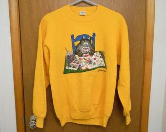 Vintage Kliban Cat Sweatshirt Medium Artist