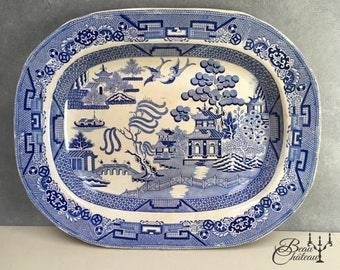 HUGE extra large very rare WARRANTED STAFFORDSHIRE Antique Blue Willow Pattern Transferware Meat Platter Plate Staffordshire England