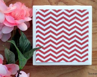Coasters for Drinks - Coasters Tile - Handmade Coasters - Red Coasters - Chevron Coasters - Coasters - Drink Coasters - Tile Coasters
