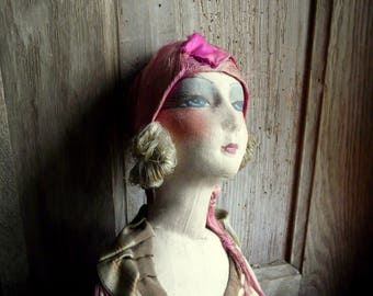 "antique French  tagged les poupees ""pierrette"" boudoir doll danseuse"