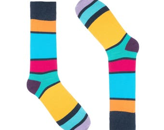 Ivory + Mason Striped Socks For Men - Dress Sock - Colorful - Navy - Cotton - Size 8-13 (One Pair)