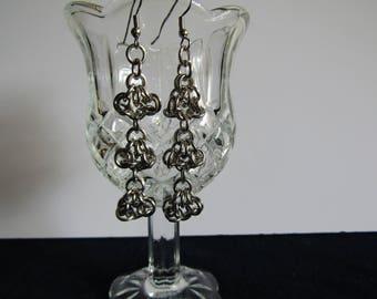 Turtle weave earrrings, stainless steel earrings, chainmaille earrings