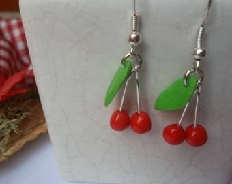 Cherry earrings with polymer clay