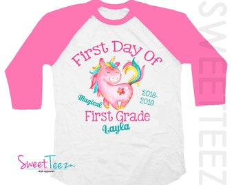 First Grade Shirt -  First Day Of First Grade Shirt - Personalized First Grade Shirt - First Grade Gift For Girls  - Unicorn Shirt