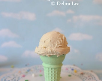 Fake Ice Cream Vanilla Realistic Faux Scoop Mint Green Cake Cone Prop Decor
