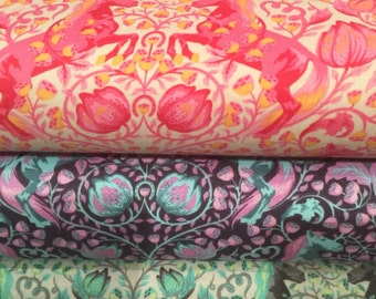 FQ Tula Pink Foxfield Fabric Pony Play BTFQ out of print hard to find cotton orange blue purple pink gray