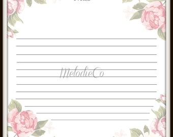 Floral Note Paper Instant Download Printable