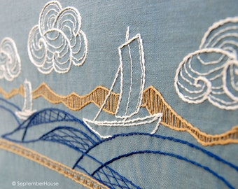 Hand Embroidery Patterns, WIND and WATER Japanese Inspired Embroidery Patterns, DIY Embroidery Patterns, Digital Download