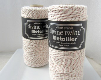 Rose Gold MetallicTwine, Rose Gold Divine Twine- full spool, 240 yards, cotton string, Rose Gold bakers twine, Packaging Antique Rose Gold