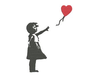 Banksy Baloon Girl Embroidery Design (3 Sizes included) Street Art Machine Embroidery Design - Motif Peeker PES, JEF, HUS