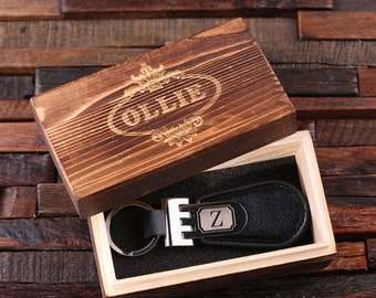 Personalized Black Leather Key Chain Monogrammed Groomsmen, Bridesmaid, Father's Day, Coworker Gift