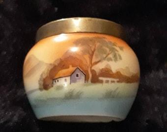 Vintage Czechoslovakian Handpainted Porcelain Pot With EPNS Rim