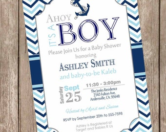 Chevron Ahoy it's a boy baby shower invitation, blue, navy, gray, nautical baby shower invitation, anchor, nautical, printable invite nbn1