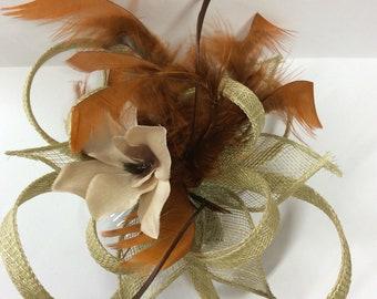 Autumn coloured fascinator hair comb