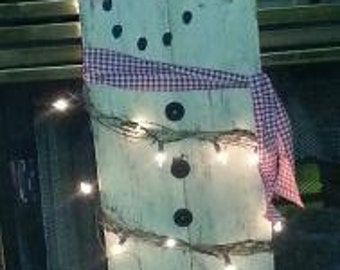 Primitive 4ft Lighted Snowman