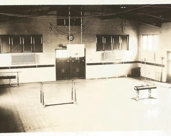 "Vintage Snapshot ""Empty Gym"" Abstract Photo Parallel Bars Horse Gymnastics High School Gym Class Found Vernacular Photo"
